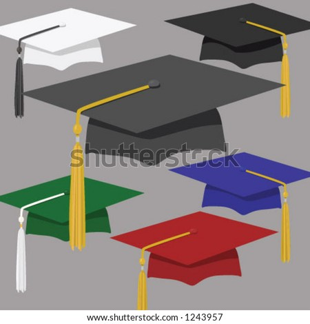Assortment of graduation caps & tassles, from stately black or classic white to crimson or royal blue. Each on its own layer, for easy use and editing. Pure vector, no CS effects used. - stock vector