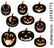 Assortment of Jack-O-Lanterns - stock vector