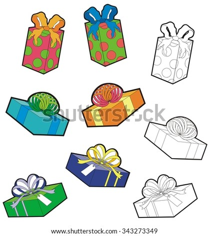 Assortment of wrapped packages for birthdays and other occasions. with black outline versions. - stock vector