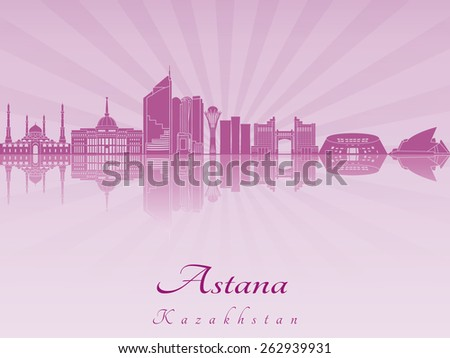 Astana skyline in purple radiant orchid in editable vector file - stock vector