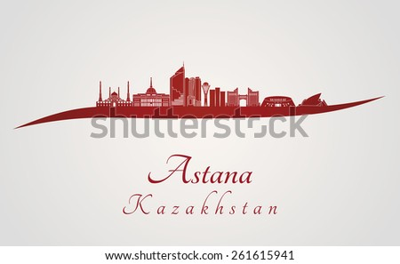 Astana skyline in red and gray background in editable vector file - stock vector