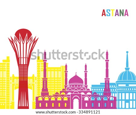Astana skyline pop in editable vector file - stock vector