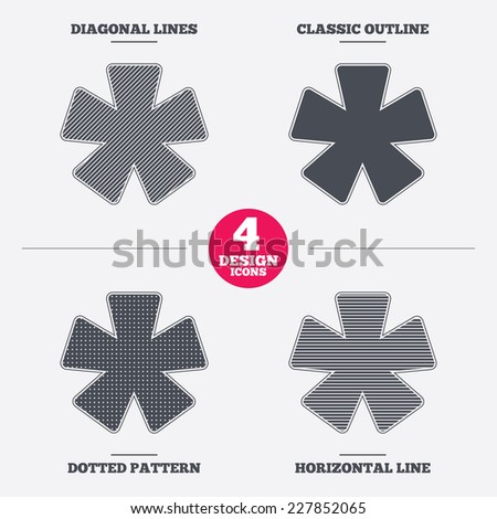 Asterisk footnote sign icon. Star note symbol for more information. Diagonal and horizontal lines, classic outline, dotted texture. Pattern design icons.  Vector - stock vector