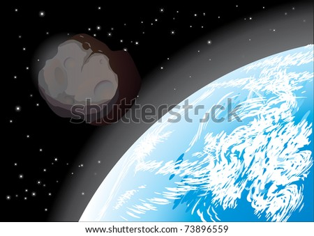 asteroid - stock vector