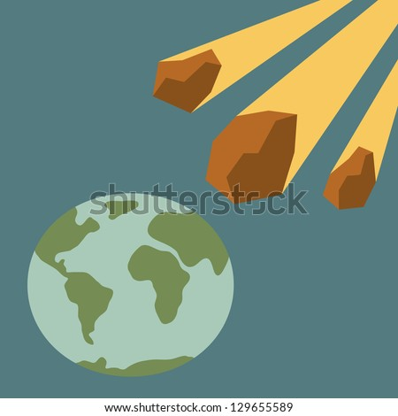 Asteroid and Earth - stock vector