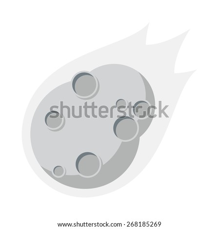 Asteroid, Flat design, vector illustration, isolated on white background - stock vector