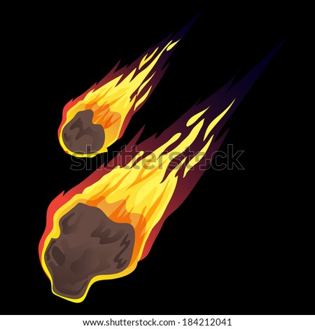 Asteroids or comet impact on planet earth vector - stock vector