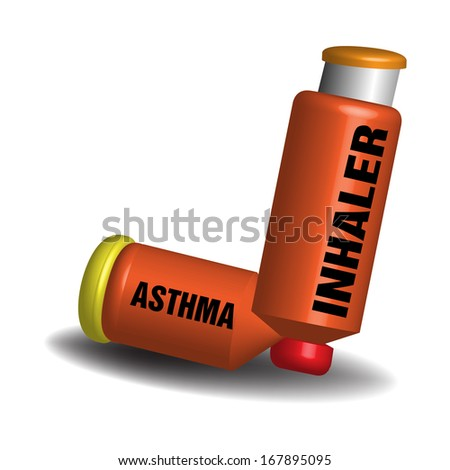 Asthma inhaler isolated on a white background - stock vector