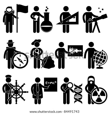 Astrologer Spaceman Chemist Mathematician Astrologer Explorer Archaeologist Seismologist Cartographer Geographer Sailor Professor Forensic Science Nuclear Job Occupation Sign Pictogram Symbol Icon - stock vector