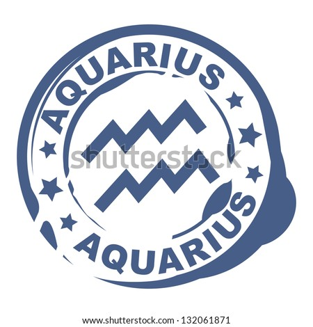 astrological sign rubber stamp with aquarius symbol - stock vector