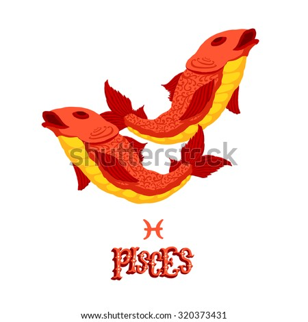 Astrological zodiac sign Pisces. Part of a set of horoscope signs. Isolated vector illustration on white background. - stock vector