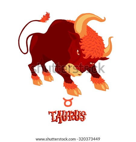 Astrological zodiac sign Taurus. Part of a set of horoscope signs. Isolated vector illustration on white background. - stock vector