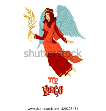 Astrological zodiac sign Virgo. Part of a set of horoscope signs. Isolated vector illustration on white background. - stock vector