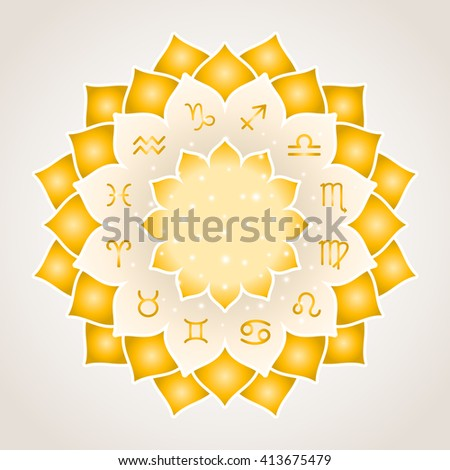 Astrology circle with signs of zodiac. Gold frame with zodiac astrological symbols. Vector illustration - stock vector