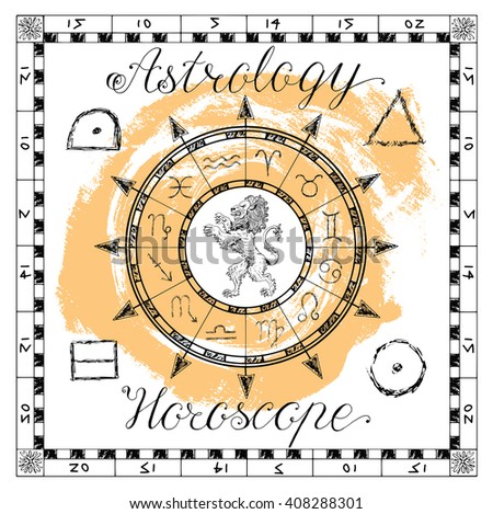 Astrology set for zodiac sign Lion or Leo. Line art vector illustration of engraved horoscope symbol. Doodle mystic drawing and hand drawn sketch with calligraphic lettering - stock vector