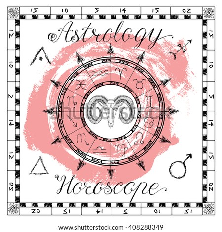 Astrology set for zodiac sign Ram or Aries. Line art vector illustration of engraved horoscope symbol. Doodle mystic drawing and hand drawn sketch with calligraphic lettering - stock vector