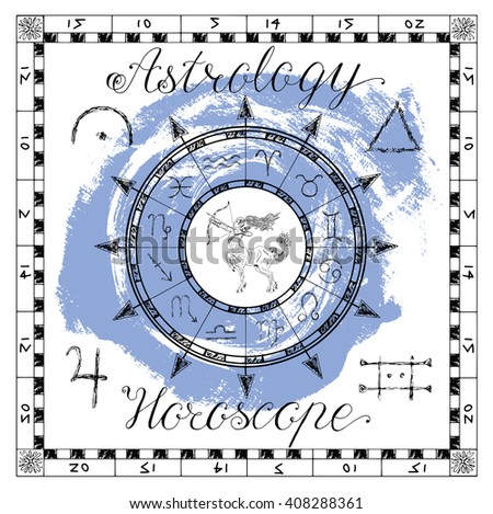 Astrology set for zodiac sign Sagittarius or Archer. Line art vector illustration of engraved horoscope symbol. Doodle mystic drawing and hand drawn sketch with calligraphic lettering - stock vector