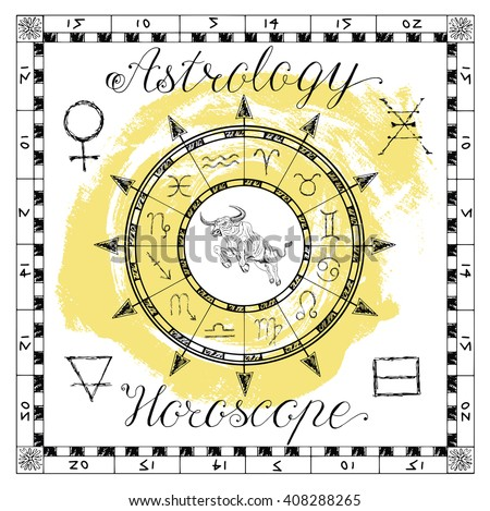 Astrology set for zodiac sign Taurus or Bull. Line art vector illustration of engraved horoscope symbol. Doodle mystic drawing and hand drawn sketch with calligraphic lettering - stock vector