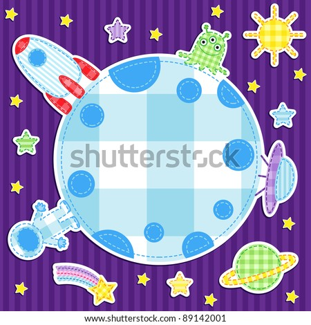 Astronaut, alien, spaceships, stars and planets on space background with place for text - stock vector
