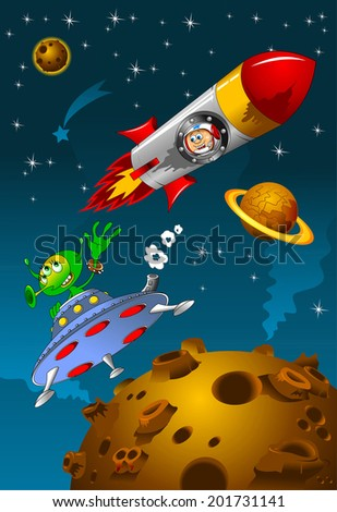 astronaut and alien meet in deep space, vector - stock vector