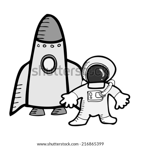 Astronaut and spaceship space explore - stock vector