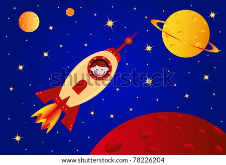 Astronaut boy in the rocket in the universe, vector illustration - stock vector