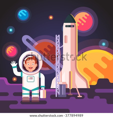 Astronaut boy landed on a moon or an alien planet on his rocket ship shuttle. Standing in spacesuit on a surface. Flat style vector illustration. - stock vector