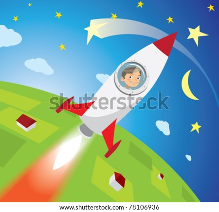 astronaut boy looks out the window missiles, smiling, flying into space - stock vector
