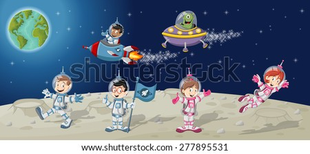Astronaut cartoon characters on the moon with a alien spaceship  - stock vector