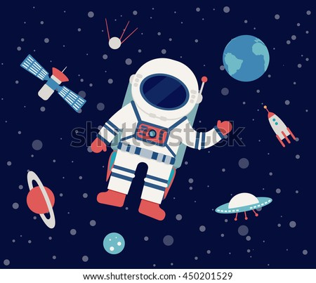 Astronaut floating in outer space, set of planet, Earth, orbits, rocket, satellite, stars, ufo, meteorite. Cosmos. Vector illustration. Cartoon icons. - stock vector