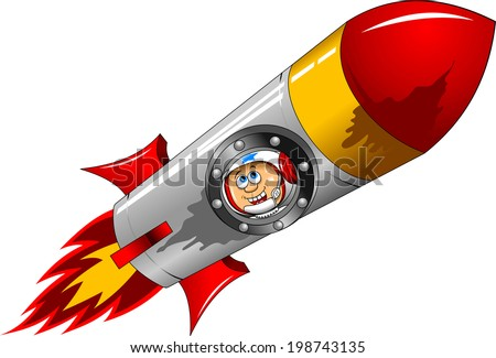 astronaut flying on the rocket and looks out the window - stock vector