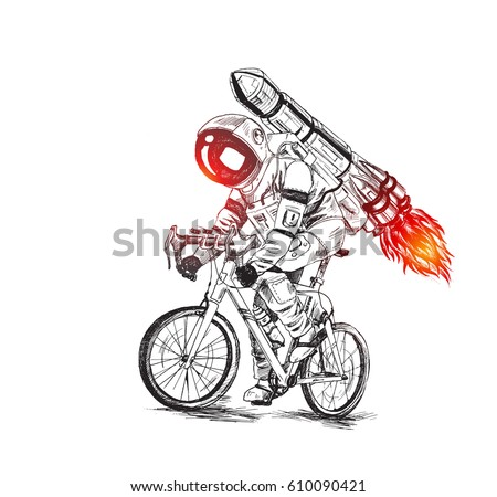 Astronaut futuristic bicycle race with fire rocket, Hand Drawn Sketch Vector illustration.