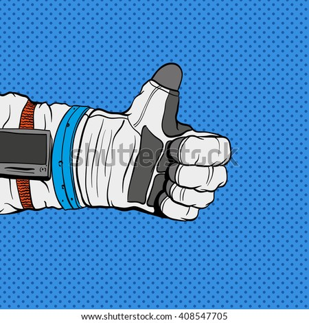 Astronaut hand shows like sign, hand drawn vector illustration. Comics style