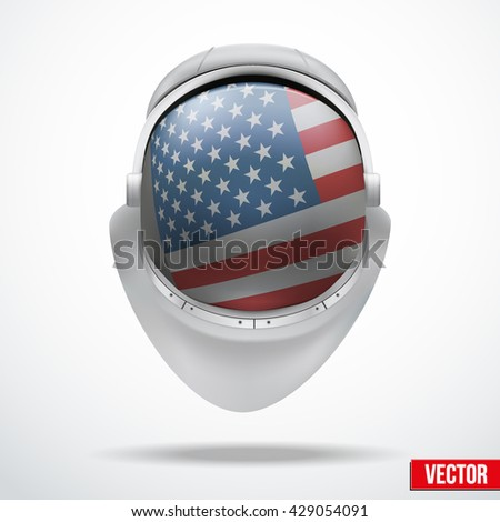 Astronaut helmet with big glass with flag USA reflecting on visor glass. Vector Illustration Isolated on White Background - stock vector
