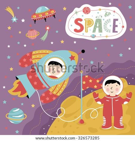 Astronaut in open space. Cartoon Illustration astronaut and rockets into space. Cartoon space fantasy world. Illustration for children. Landing on the moon, cartoon moon. Vector illustration of space. - stock vector