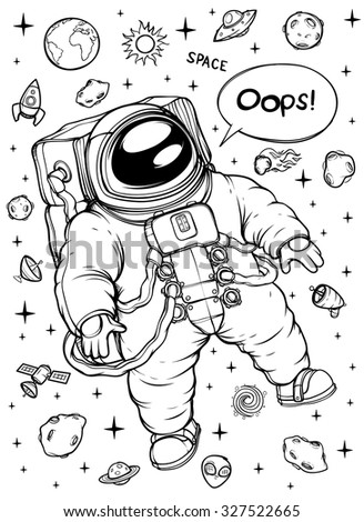 Astronaut in outer space. Black and white