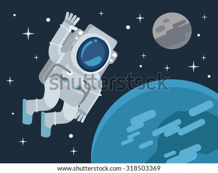 Astronaut in outer space. Vector flat illustration