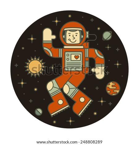 Astronaut in space. Hello spaceman. Vector illustration. - stock vector