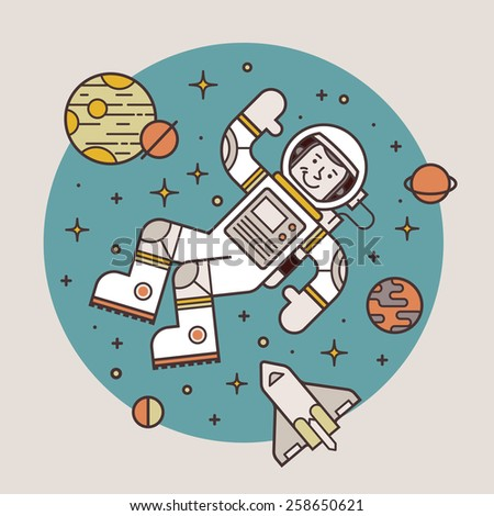 Astronaut in space. Hello spaceman. Vector illustration. - stock vector