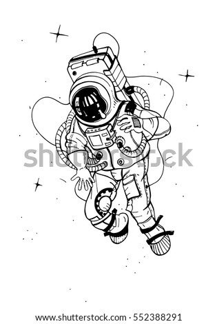 Astronaut In Spacesuit Cosmonaut Into Space On The Background Of Stars Vector Illustration