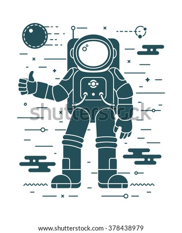 Astronaut landing on a planet - vector illustration in negative space style. Space exploration and colonization concept. Astronaut dark silhouette in outer space. Space concept - stock vector