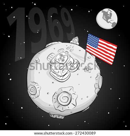 astronaut on the moon came out of the rocket, raised the flag and looking at the stars. EPS 10 - stock vector
