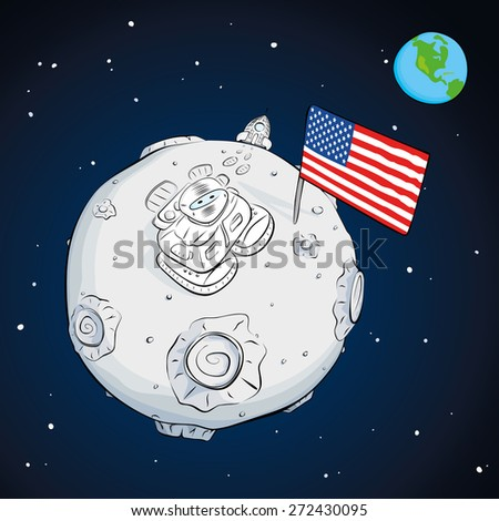 astronaut on the moon came out of the rocket, raised the flag and looking at the stars. EPS10 - stock vector