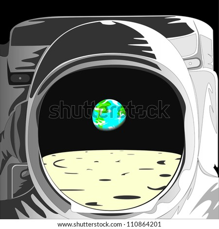 Astronaut on the Moon looking at the Earth - stock vector