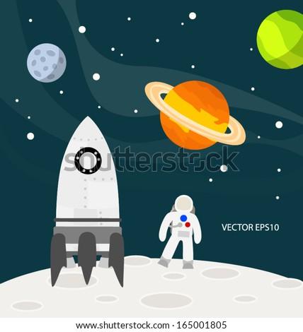 Astronaut on the moon vector - stock vector