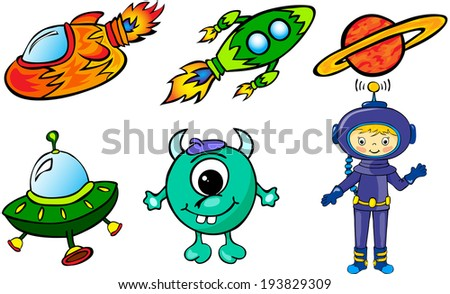 Astronaut, rockets, alien and planet. Vector illustration