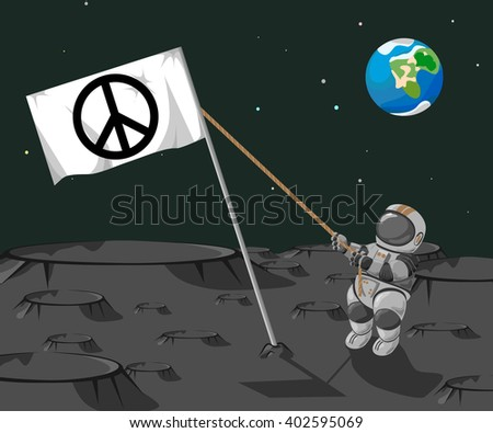 "Astronaut sets a flag ""Pacific "" on the moon on a background of the planet Earth. - stock vector"