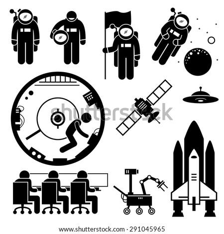 Astronaut Space Exploration Stick Figure Pictogram Icons - stock vector