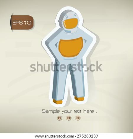 Astronaut sticker design on old background,vector - stock vector