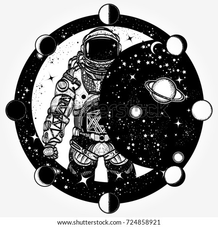 astronaut space tattoo cosmonaut universe solar stock vector 666397894 shutterstock. Black Bedroom Furniture Sets. Home Design Ideas